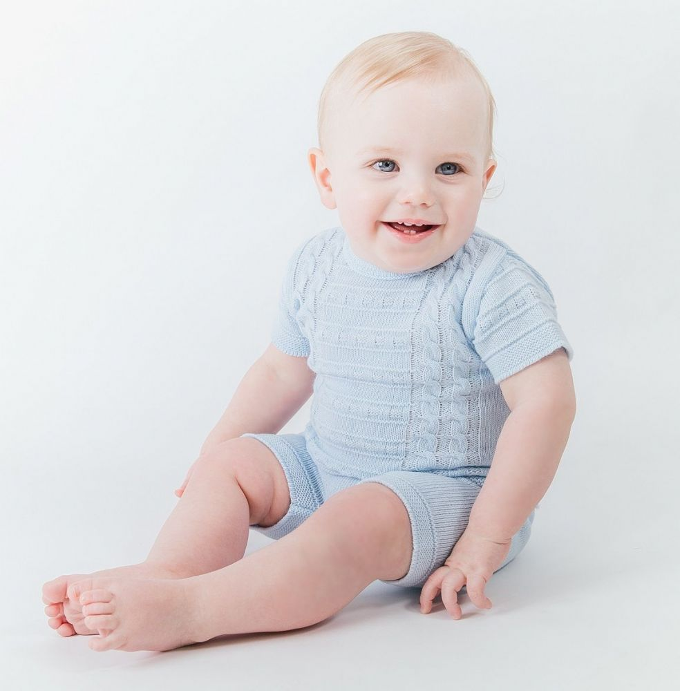 A1526 Boys knitted Top & Shorts set